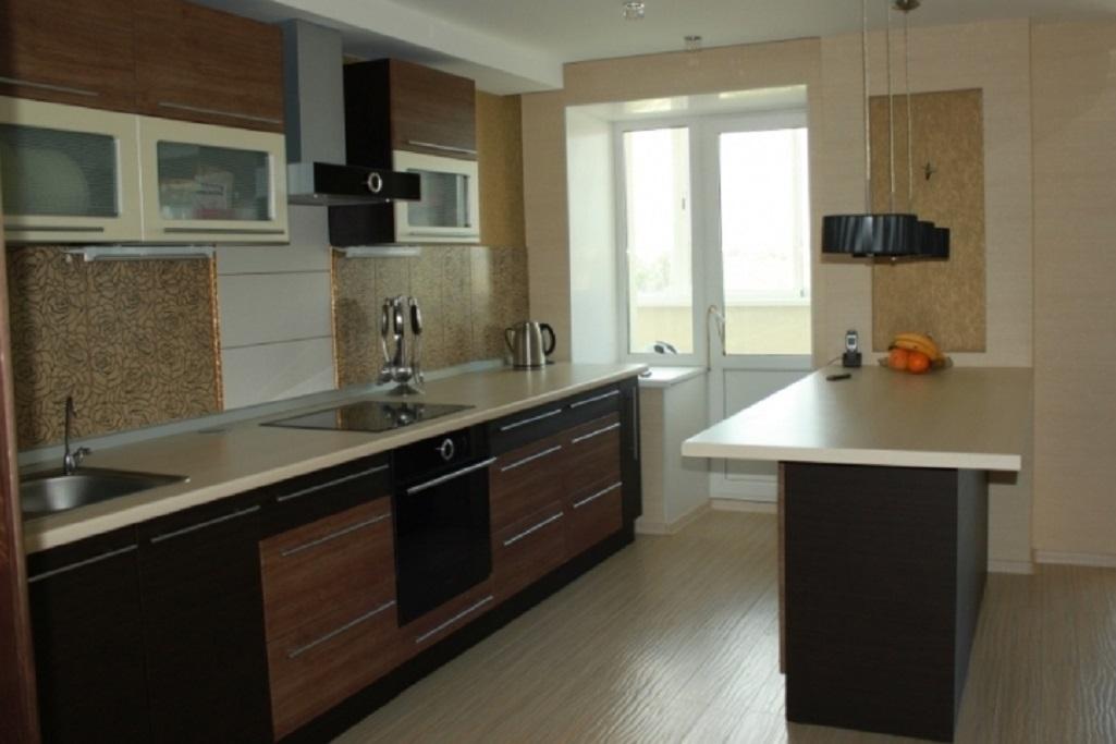Прямая кухня с барной стойкой фото
